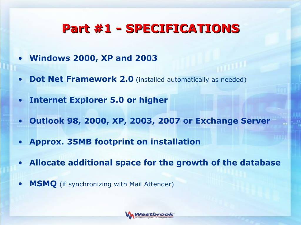 Part #1 - SPECIFICATIONS