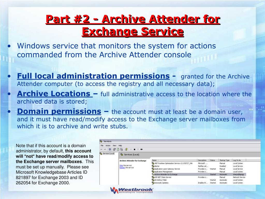 Part #2 - Archive Attender for Exchange Service