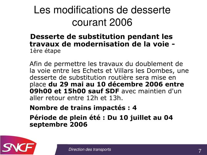 Les modifications de desserte courant 2006