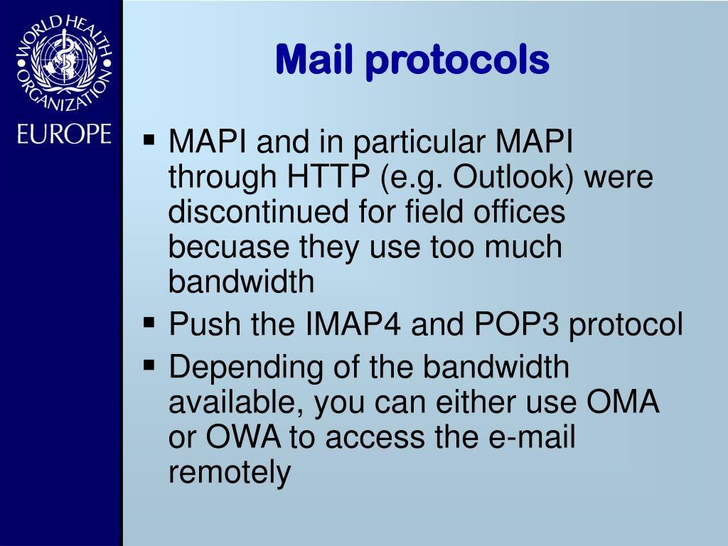 Mail protocols