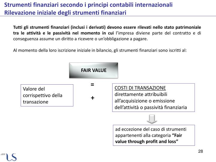 Tutti gli strumenti finanziari (inclusi i derivati) devono essere rilevati nello stato patrimoniale tra le attività e le passività nel momento in cui