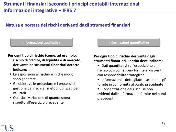 Natura e portata dei rischi derivanti dagli strumenti finanziari