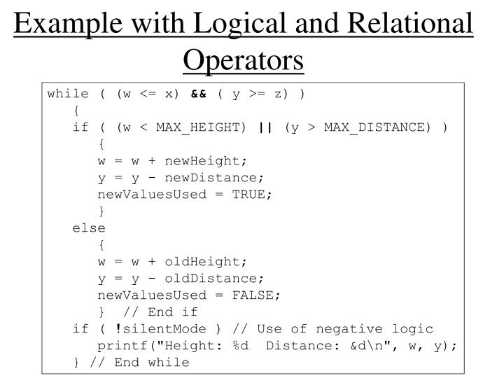 Example with Logical and Relational Operators