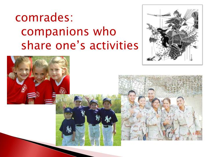 comrades: companions who share one's activities