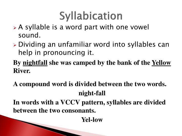 Syllabication