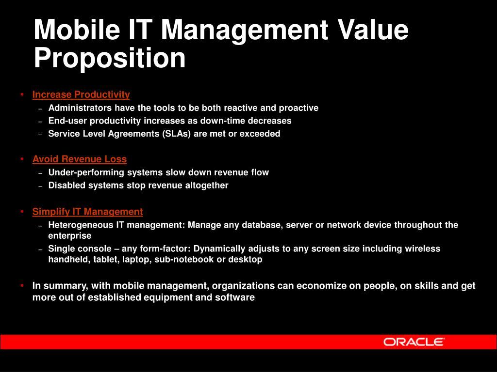 Mobile IT Management Value Proposition