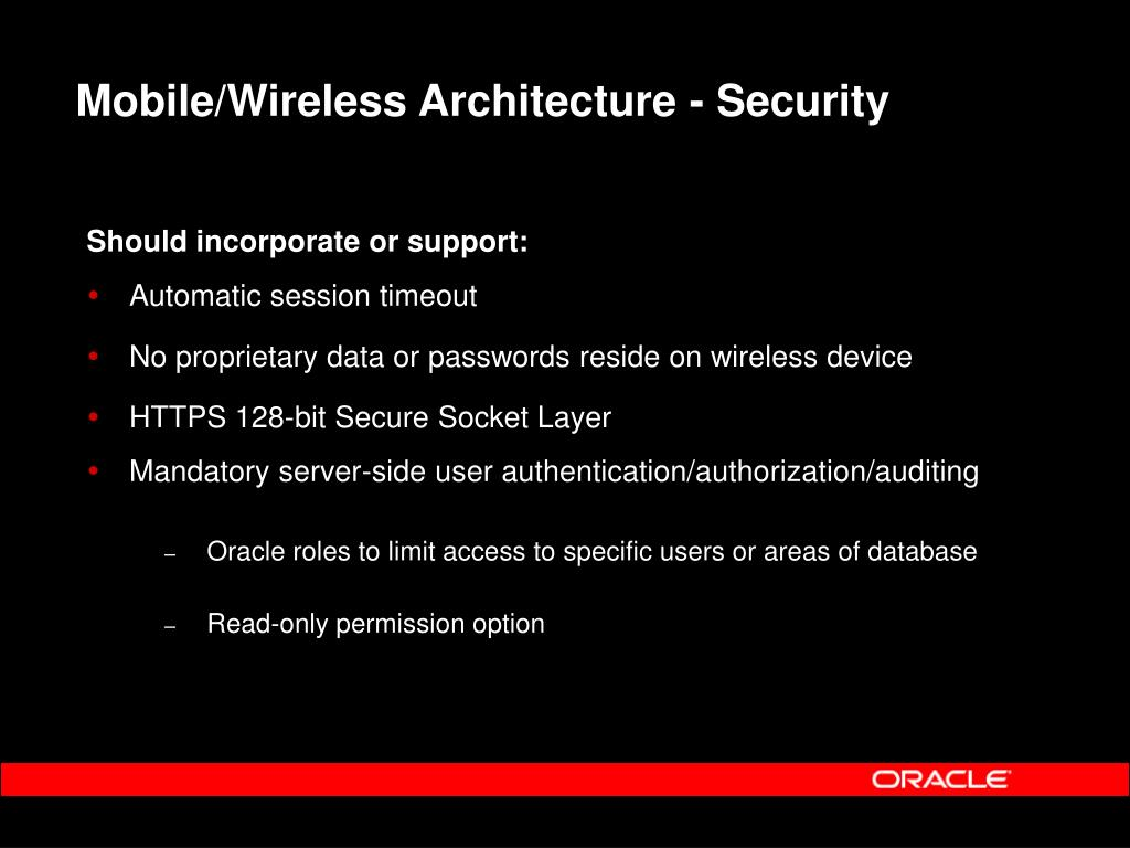 Mobile/Wireless Architecture - Security