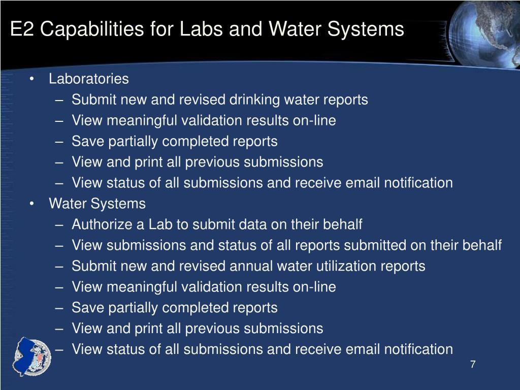 E2 Capabilities for Labs and Water Systems