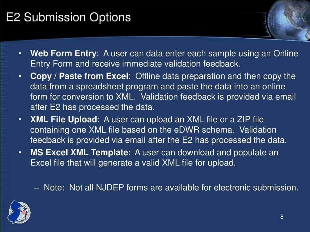 E2 Submission Options