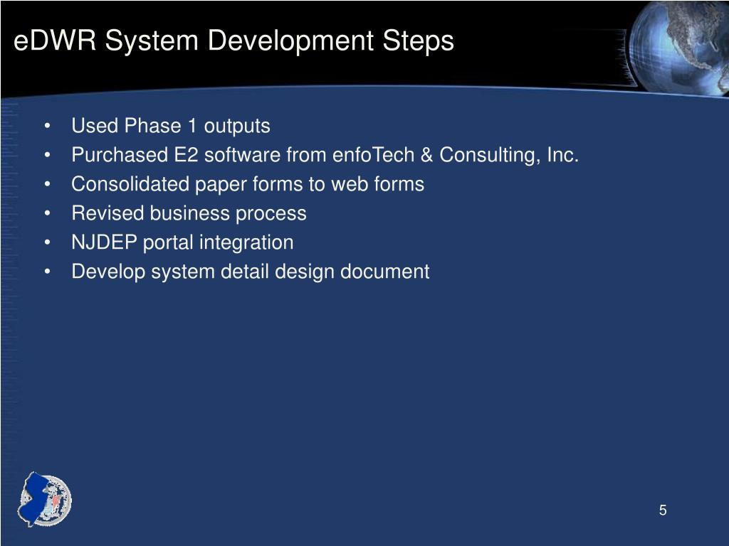 eDWR System Development Steps