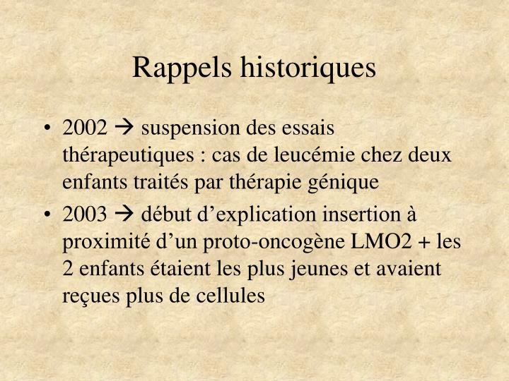 Rappels historiques