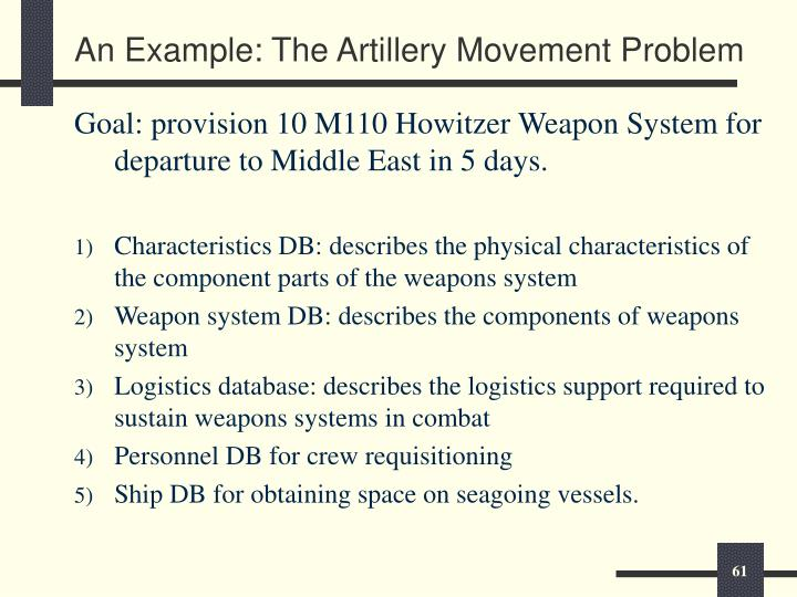 An Example: The Artillery Movement Problem