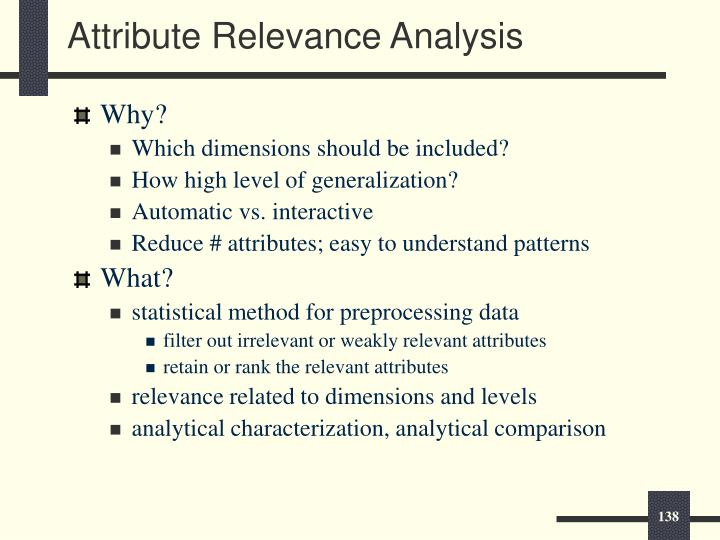 Attribute Relevance Analysis