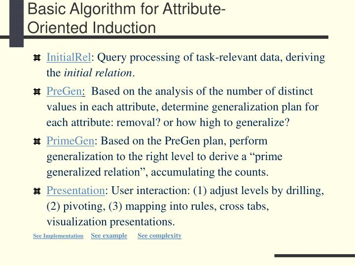 Basic Algorithm for Attribute-Oriented Induction