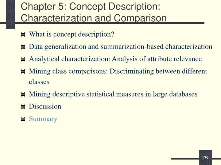 Chapter 5: Concept Description: Characterization and Comparison