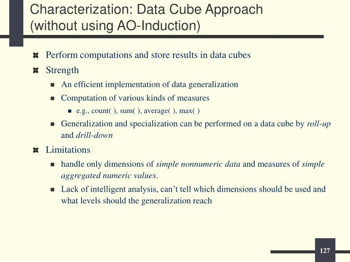 Characterization: Data Cube Approach (without using AO-Induction)