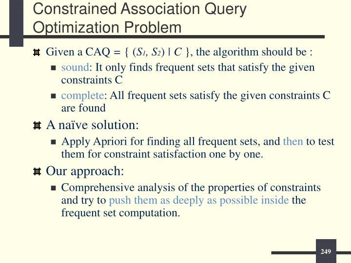 Constrained Association Query Optimization Problem