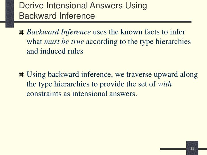 Derive Intensional Answers Using Backward Inference
