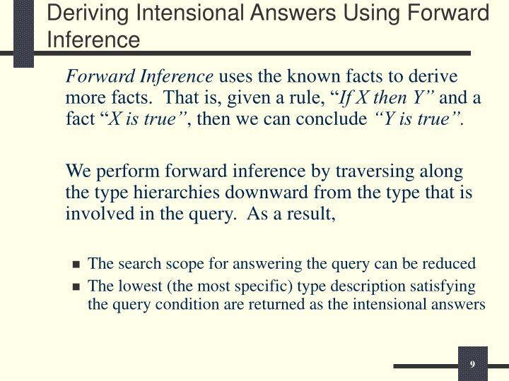 Deriving Intensional Answers Using Forward Inference