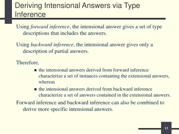 Deriving Intensional Answers via Type Inference
