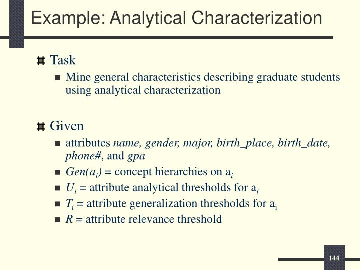 Example: Analytical Characterization