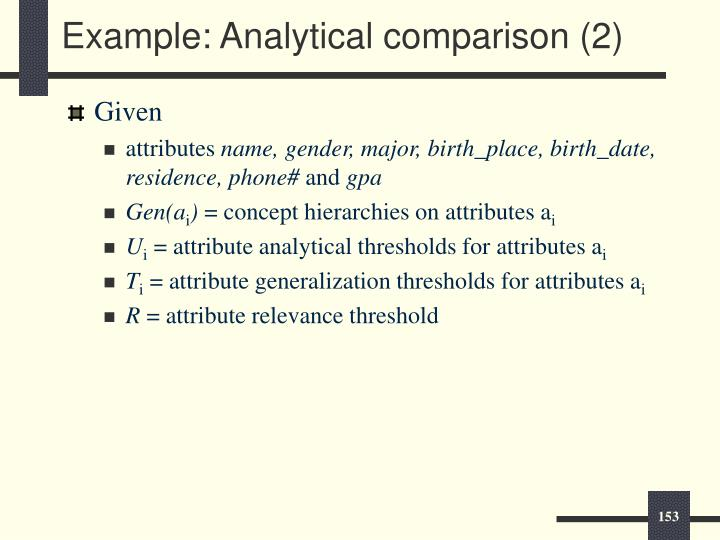 Example: Analytical comparison (2)