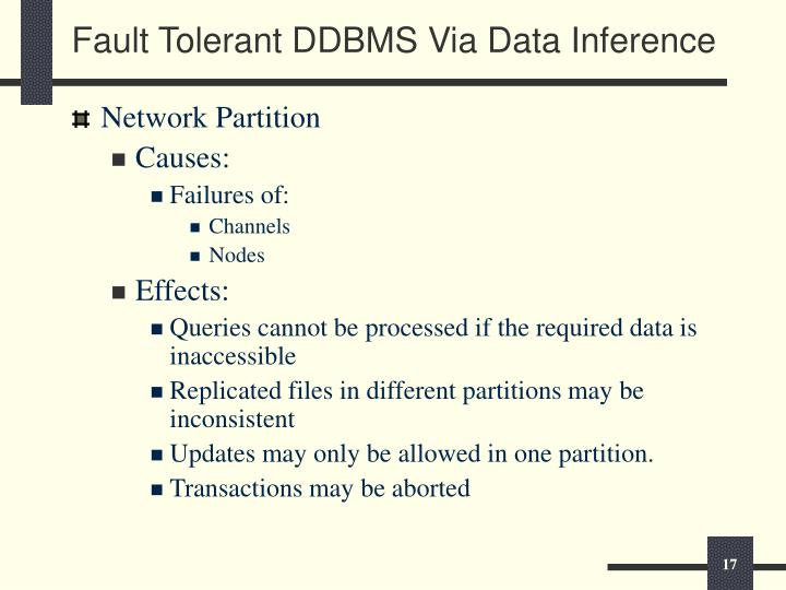 Fault Tolerant DDBMS Via Data Inference