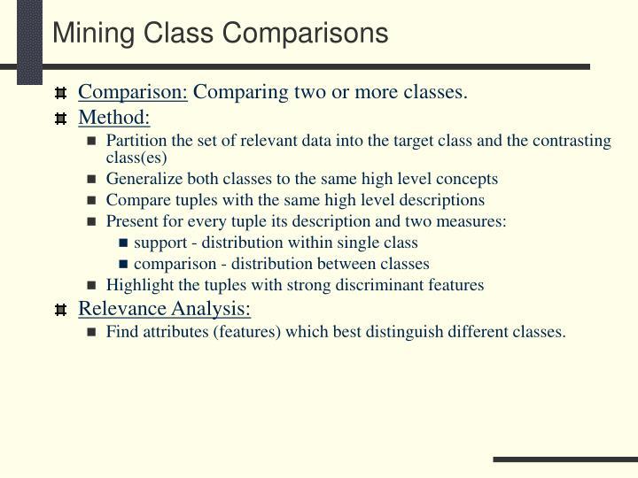 Mining Class Comparisons