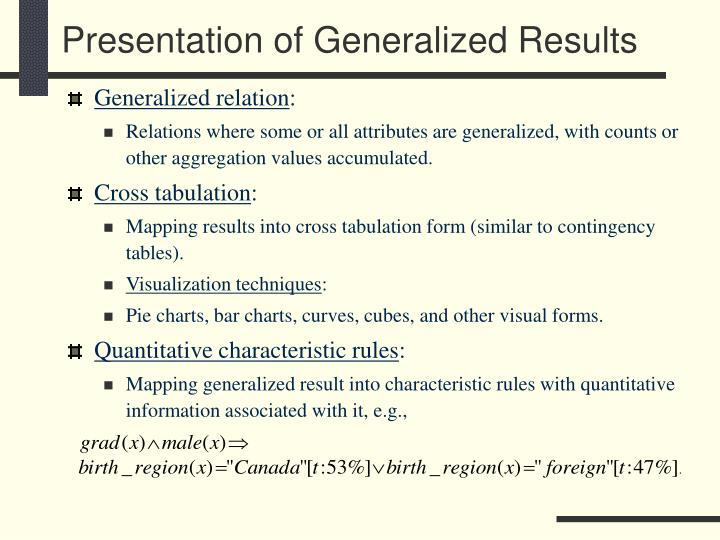 Presentation of Generalized Results