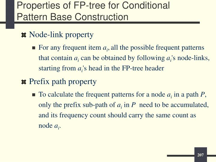Properties of FP-tree for Conditional Pattern Base Construction