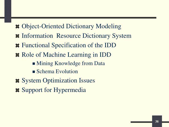 Object-Oriented Dictionary Modeling