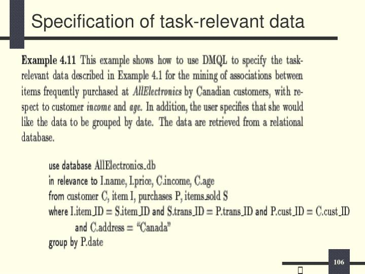 Specification of task-relevant data
