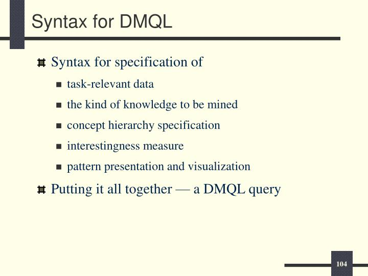 Syntax for DMQL