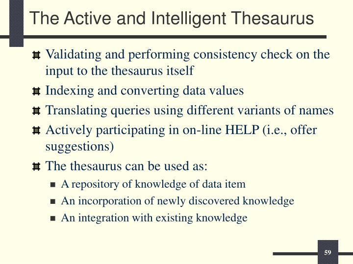 The Active and Intelligent Thesaurus