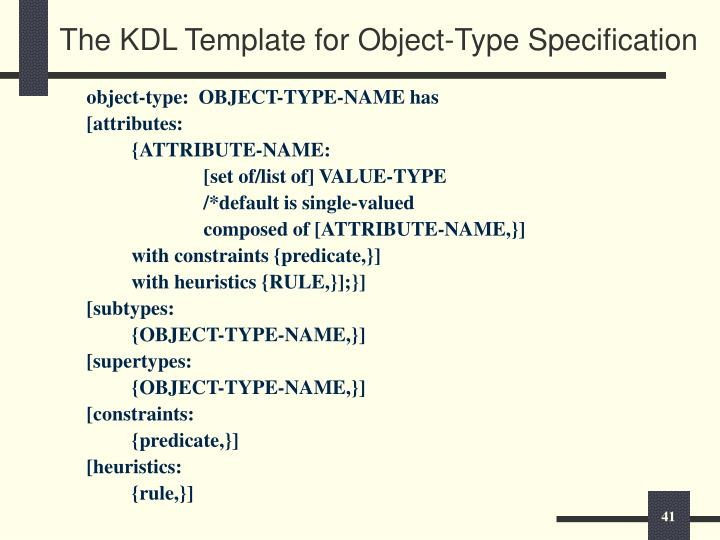 The KDL Template for Object-Type Specification