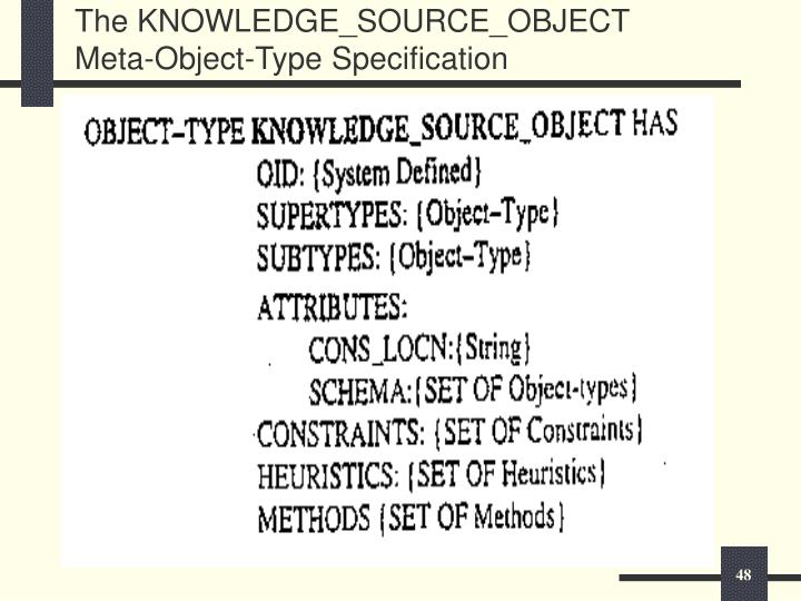 The KNOWLEDGE_SOURCE_OBJECT Meta-Object-Type Specification