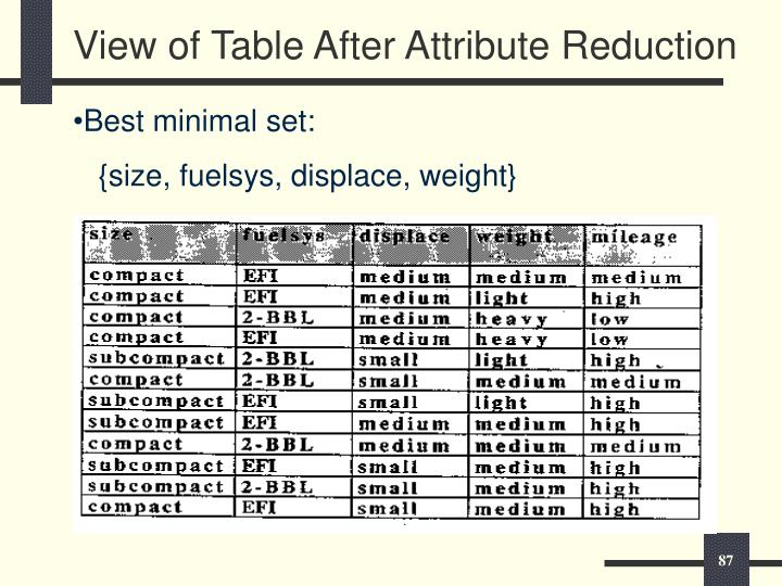 View of Table After Attribute Reduction
