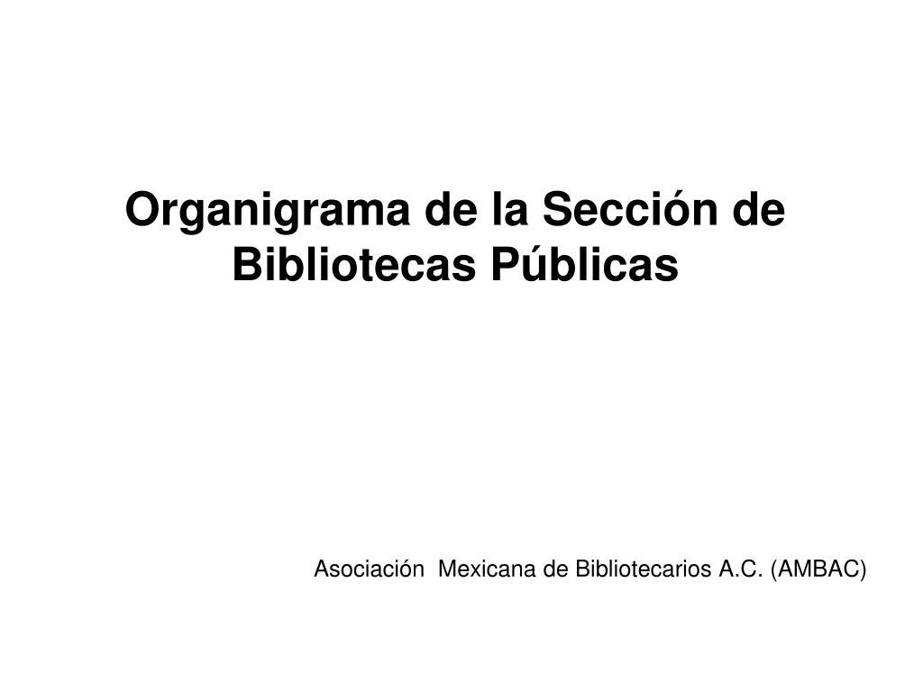 Organigrama de la Sección de Bibliotecas Públicas