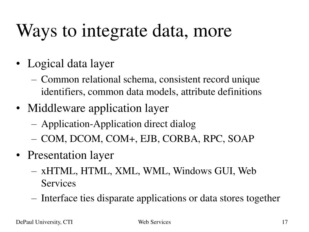 Ways to integrate data, more