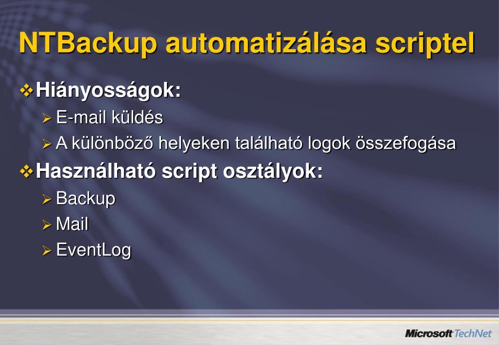 NTBackup automatizálása scriptel