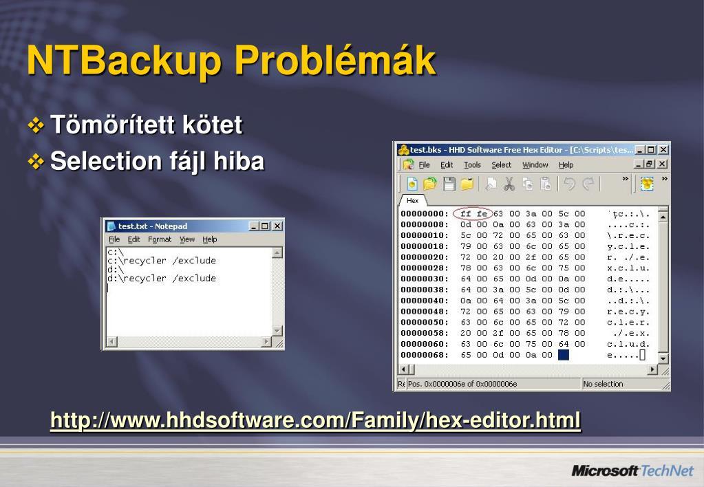 NTBackup Problémák