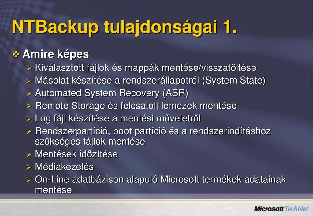 NTBackup tulajdonságai 1.
