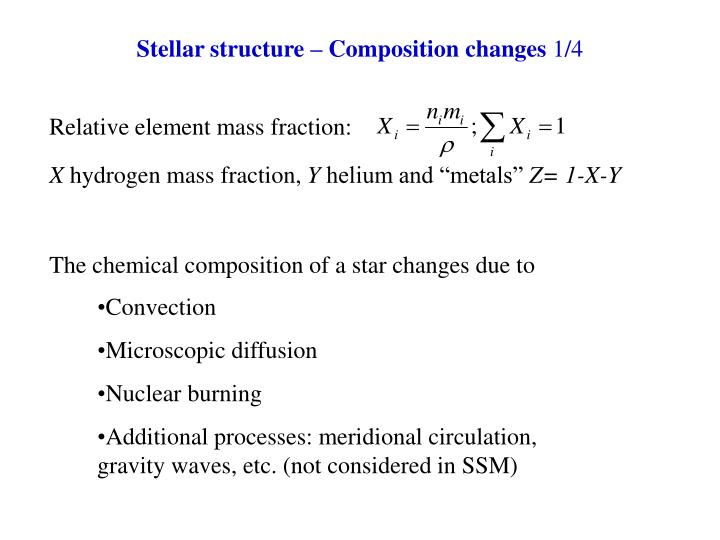 The chemical composition of a star changes due to
