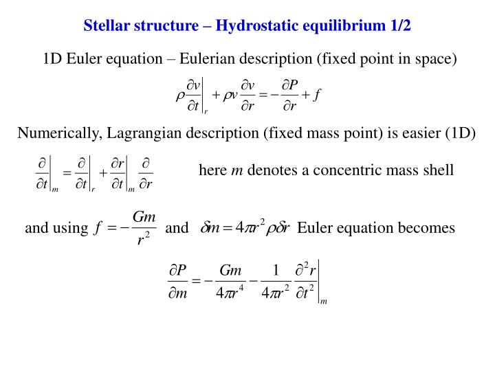 1D Euler equation – Eulerian description (fixed point in space)