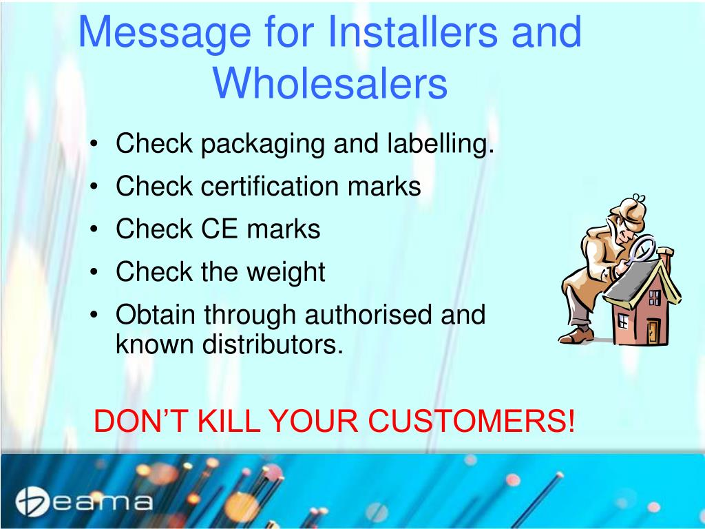 Message for Installers and Wholesalers