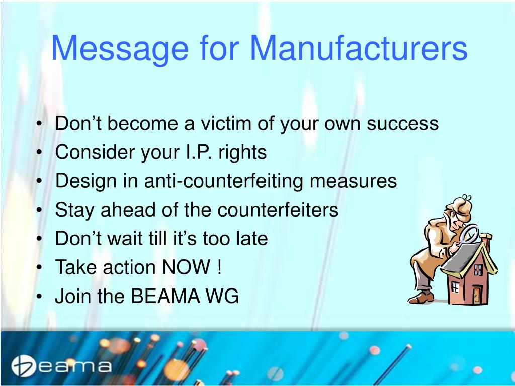 Message for Manufacturers