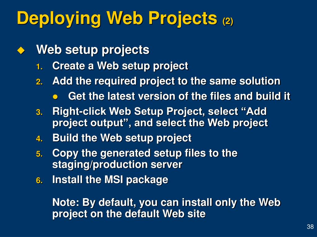 Deploying Web Projects