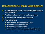 introduction to team development