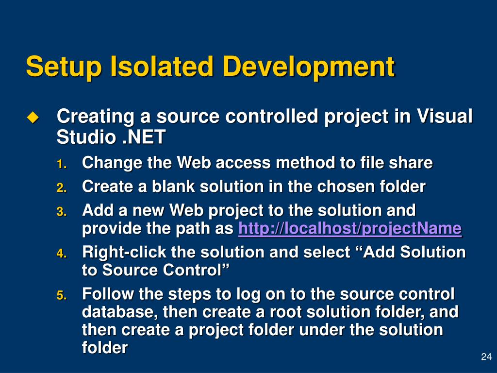 Setup Isolated Development