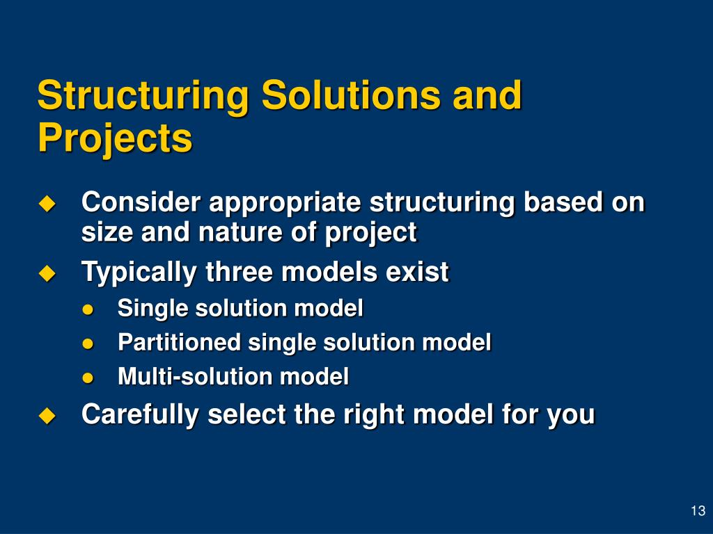 Structuring Solutions and Projects